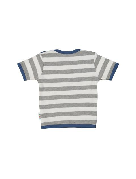 تی شرت نخی طرح دار پسرانه - بی بی ناز - سفيد طوسي - 2