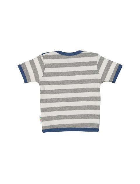 تی شرت نخی طرح دار پسرانه - سفيد طوسي - 2