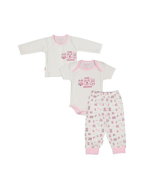ست 3 تکه نخی نوزادی دخترانه - سفيد صورتي - 1