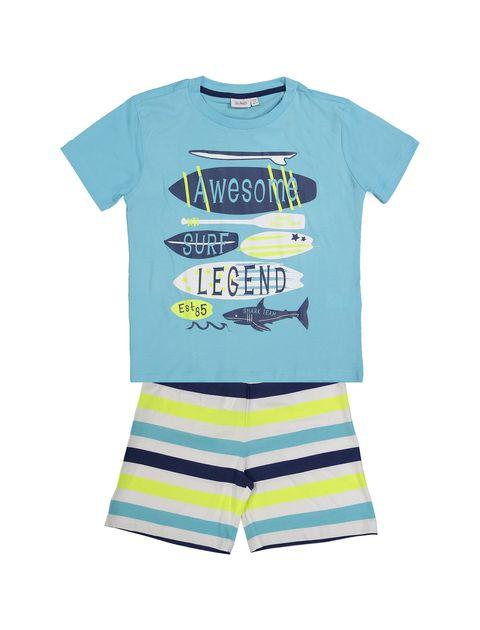 تی شرت و شلوارک نخی پسرانه - بلوکیدز - آبي/سفيد - 1