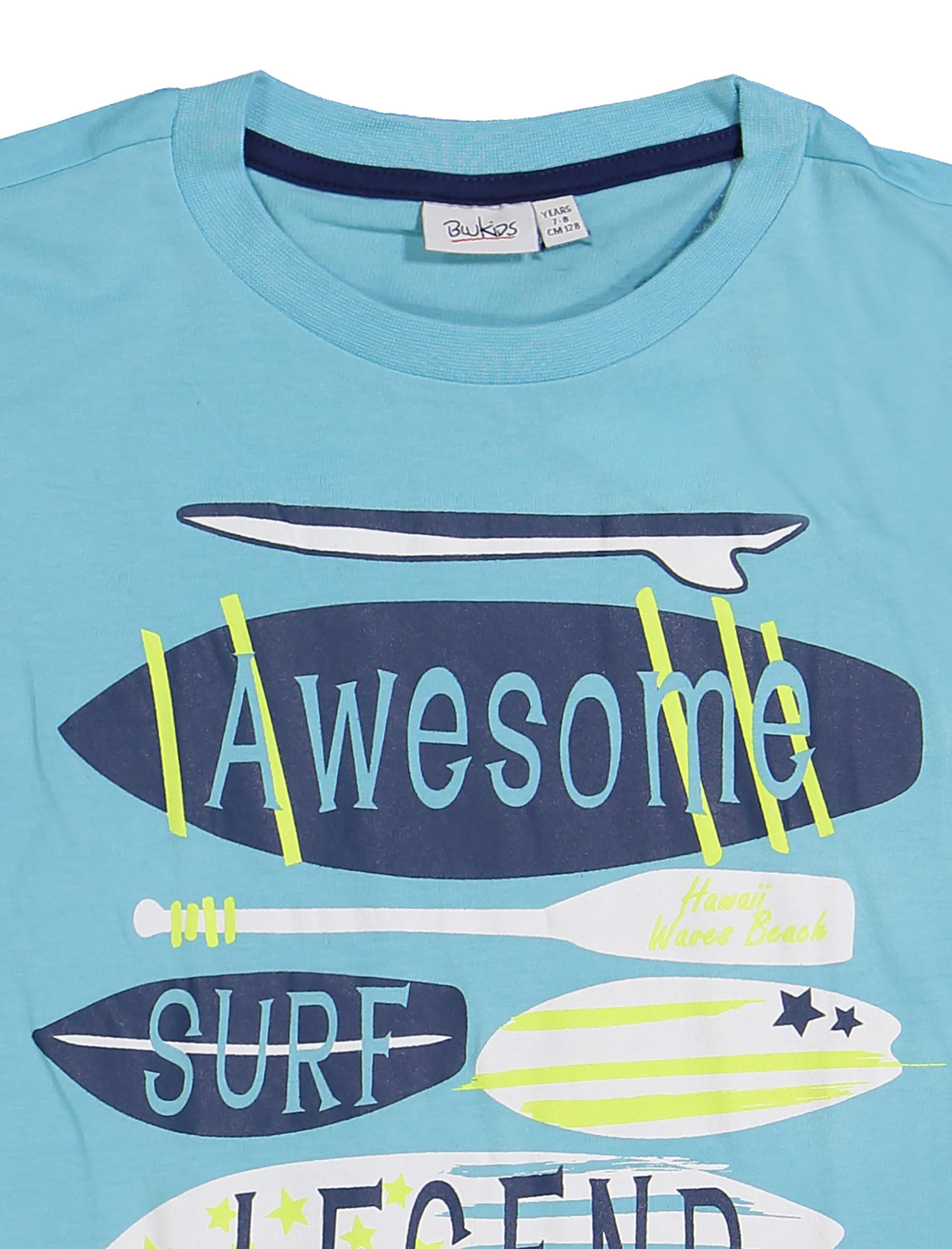 تی شرت و شلوارک نخی پسرانه - بلوکیدز - آبي/سفيد - 4