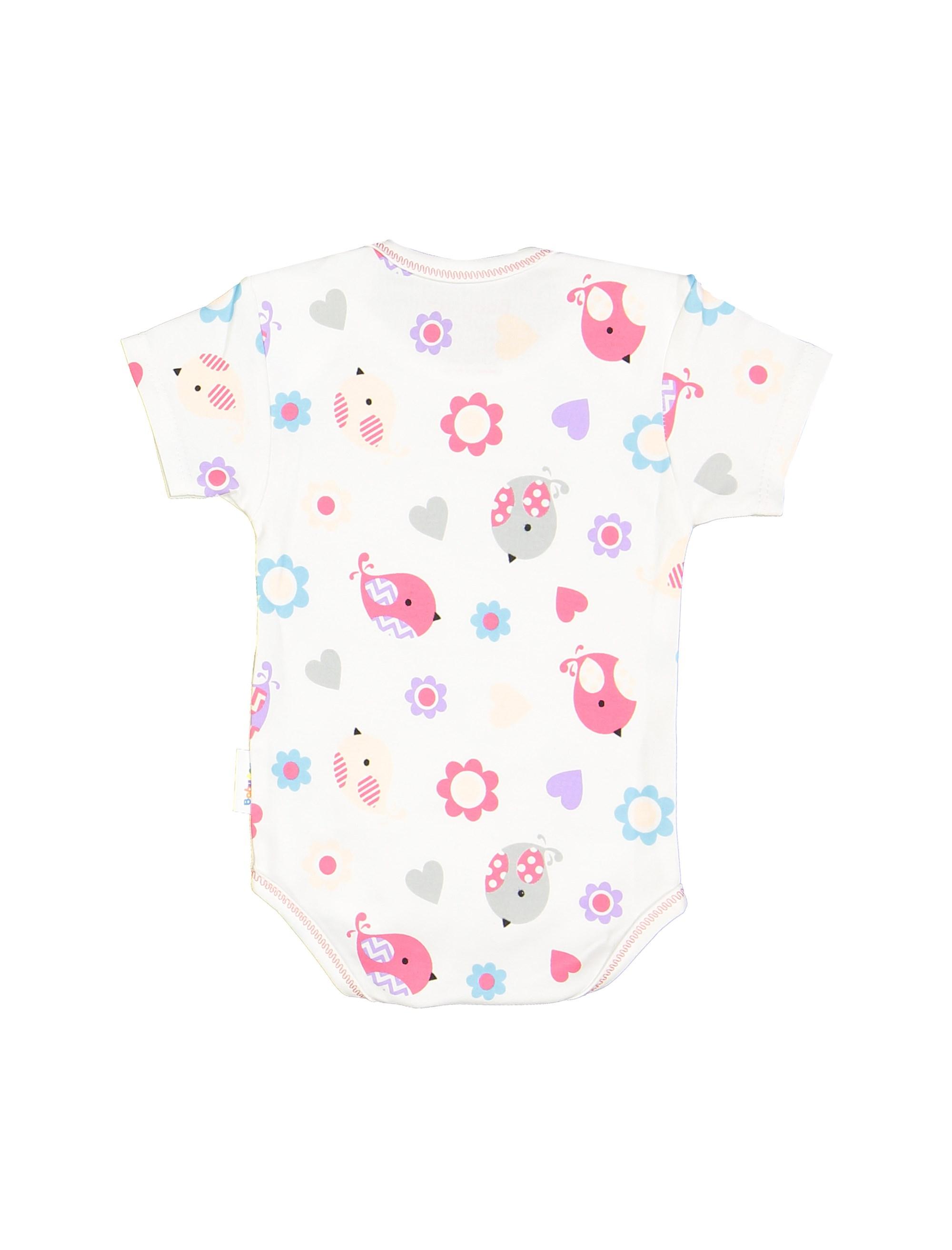 ست 3 تکه نخی نوزادی دخترانه - سفيد صورتي - 5