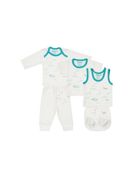 ست 5 تکه نوزادی - سفيد و سبزآبي - 1