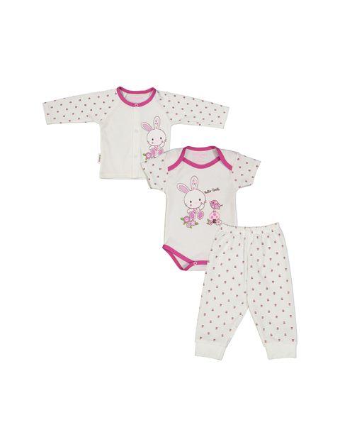 ست 3 تکه نخی نوزادی دخترانه - سفيد سرخابي - 1