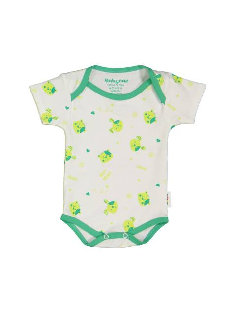 ست 3 تکه نخی نوزادی - سفيد سبز - 2