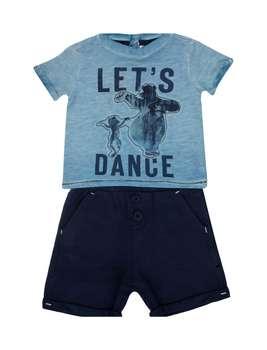 تی شرت و شلوارک نخی نوزادی پسرانه