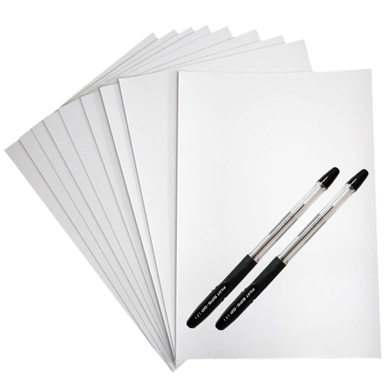 کاغذ A4  کد 50 بسته 50 عددی به همراه خودکار پایلوت مدل BPS-GP بسته دو عددی