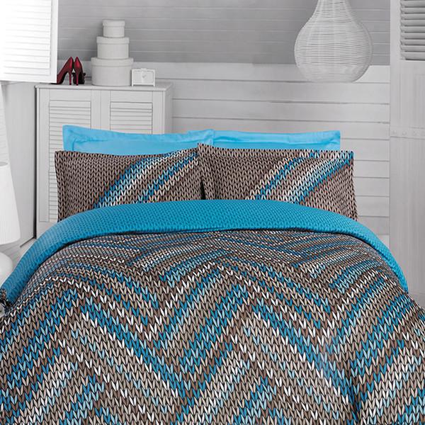 سرویس لحاف روتختی کالای خواب شمیم مدل fabro blue دونفره 6 تکه