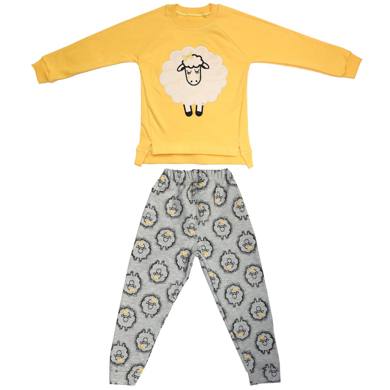 ست 2 تکه لباس بچگانه مدل Sheep رنگ زرد