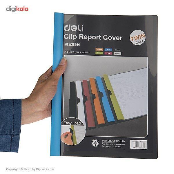 کاور کاغذ A4 دلی مدل Twin Color E38964  - با گیره متحرک main 1 8