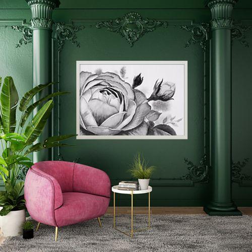 تابلو طرح گل رز سیاه و سفید کد AX14197