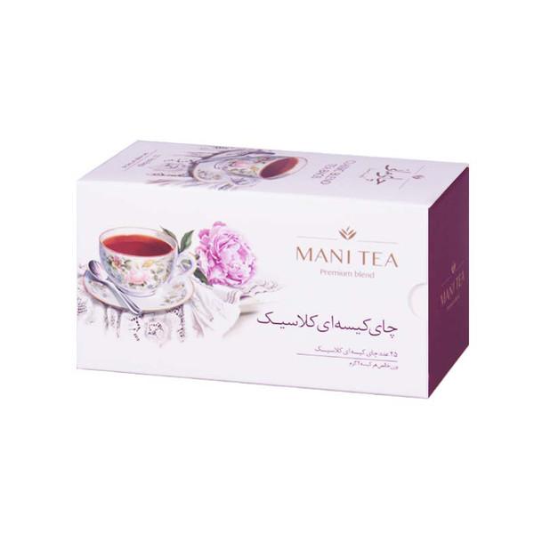 چای سیاه کلاسیک کیسه ای چای مانی بسته 25 عددی