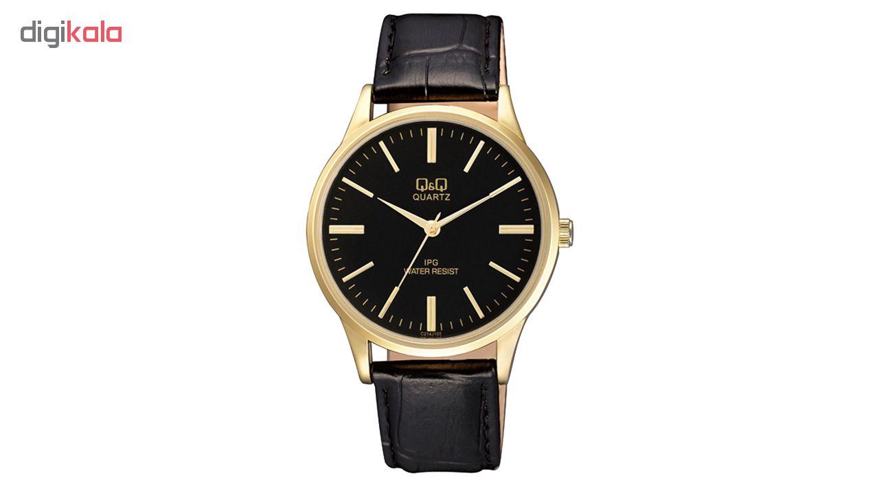 ساعت مچی عقربه ای مردانه کیو اند کیو مدل C214J102Y به همراه دستمال مخصوص برند کلین واچ