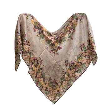 روسری زنانه ابریشم مامی دست دوز مدل 01