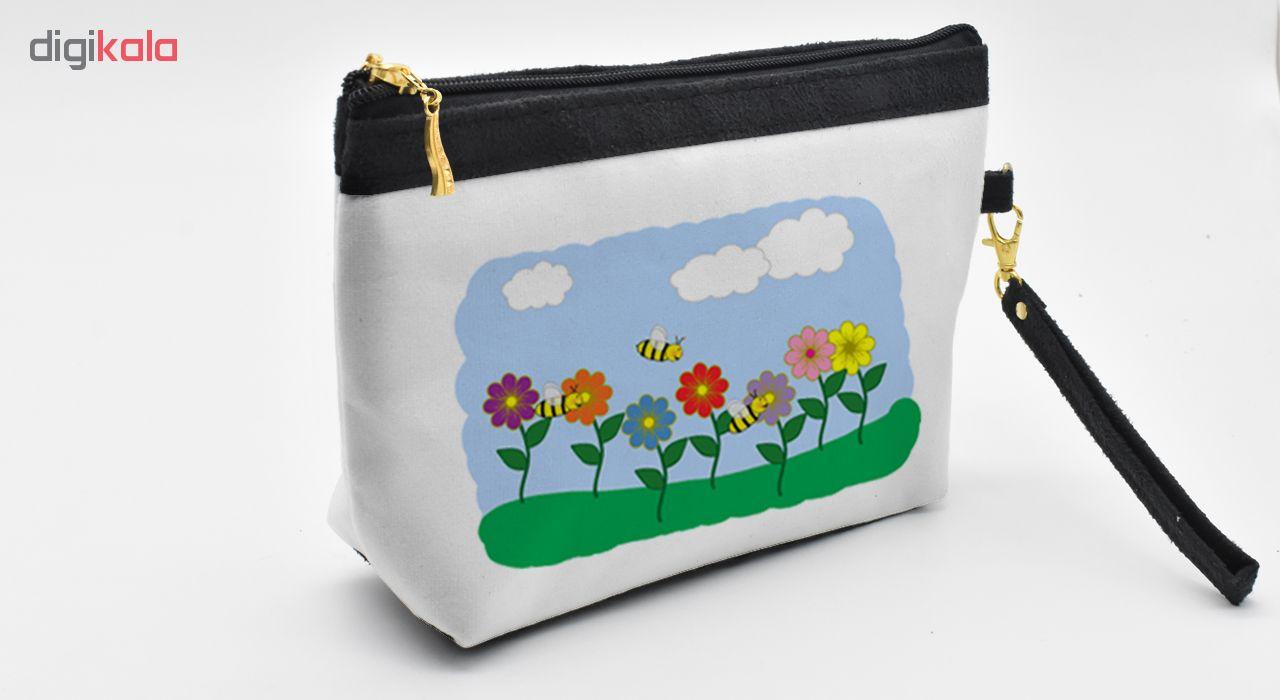 کیف لوازم آرایش طرح نقاشی طبیعت کد C21