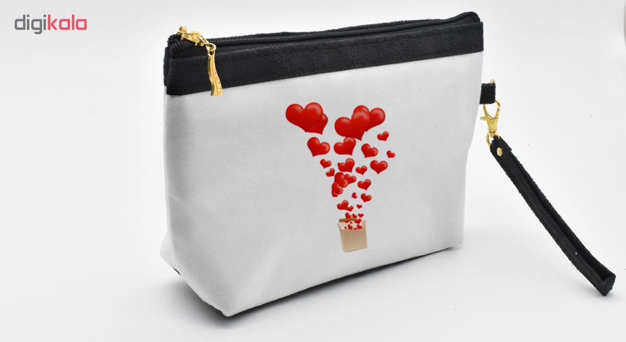 کیف لوزم آرایشی طرح LoveBox کد C23