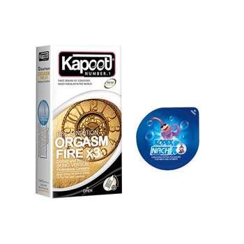 کاندوم کاپوت مدل ORGASM FIRE X3 بسته 12 عددی به همراه کاندوم ناچ کدکس مدل بلیسر