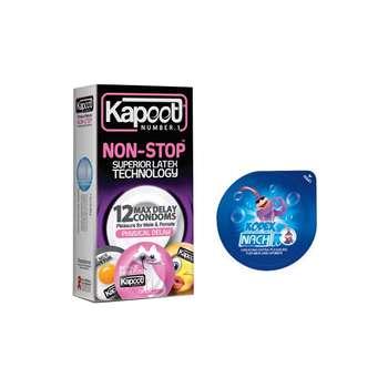 کاندوم کاپوت مدل NON STOP بسته 12 عددی به همراه کاندوم ناچ کدکس مدل بلیسر