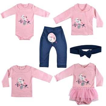ست 6 تکه لباس نوزادی نیروان طرح جوجه رنگی کد 6 |