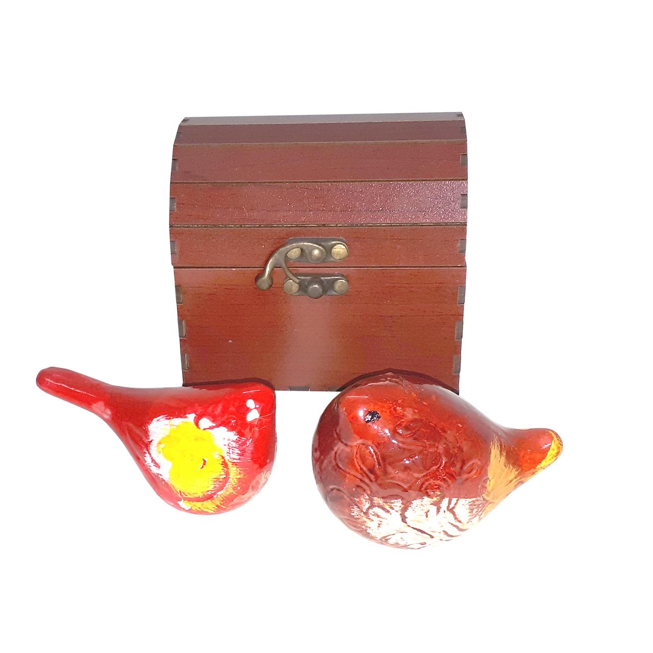 مرغ آمین سفالی مدل FAB01 بسته دو عددی به همراه صندوقچه  چوبی