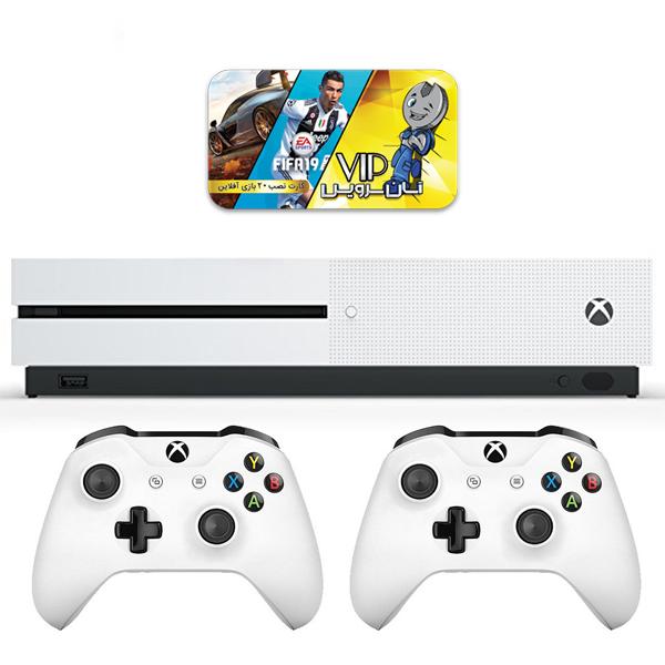 مجموعه کنسول بازی مایکروسافت مدل Xbox One S ظرفیت 1 ترابایت به همراه کارت نصب 20 عدد بازی