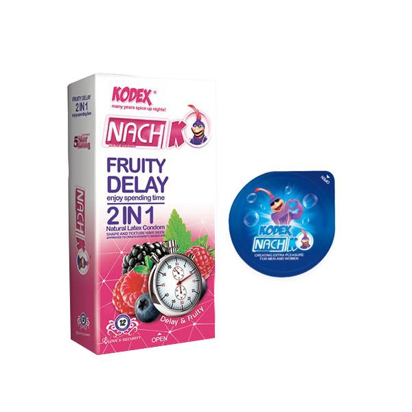 خرید                      کاندوم ناچ کدکس مدل FRUITY 2IN 1 بسته 12 عددی به همراه کاندوم مدل بلیسر
