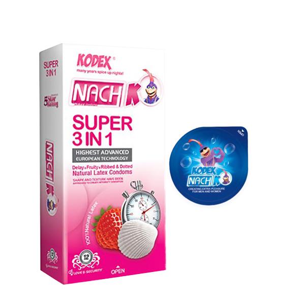 کاندوم ناچ کدکس مدل SUPER 3IN 1 بسته 12 عددی به همراه کاندوم مدل بلیسر