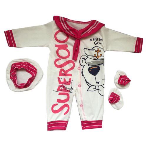 ست 3 تکه لباس نوزادی طرح ملوان کوچک کد 027