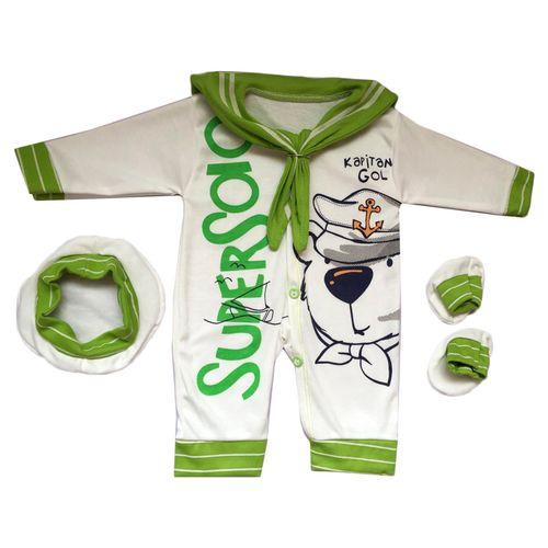 ست 3 تکه لباس نوزادی طرح ملوان کوچک کد 028