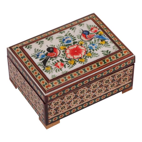 جعبه جواهرات خاتم کاری گالری گوهران مدل گل و مرغ کد521