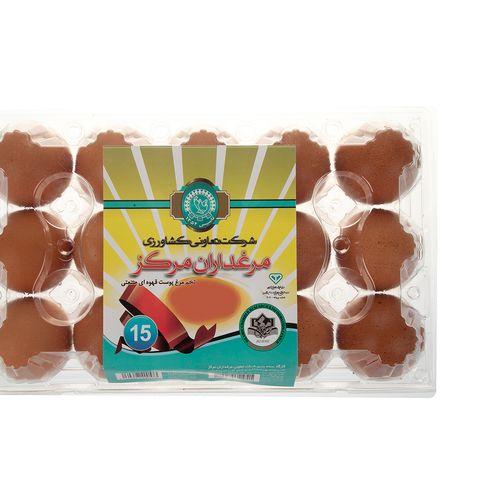 تخم مرغ پوست قهوه ای مرغداران مرکز بسته 15 عددی