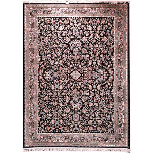 فرش ماشینی زمرد مشهد طرح افشان 36016 زمینه سورمه ای