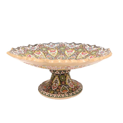ظرف شیرینی خوری میناکاری مدل گل ترنج قطر28 سانتی متر