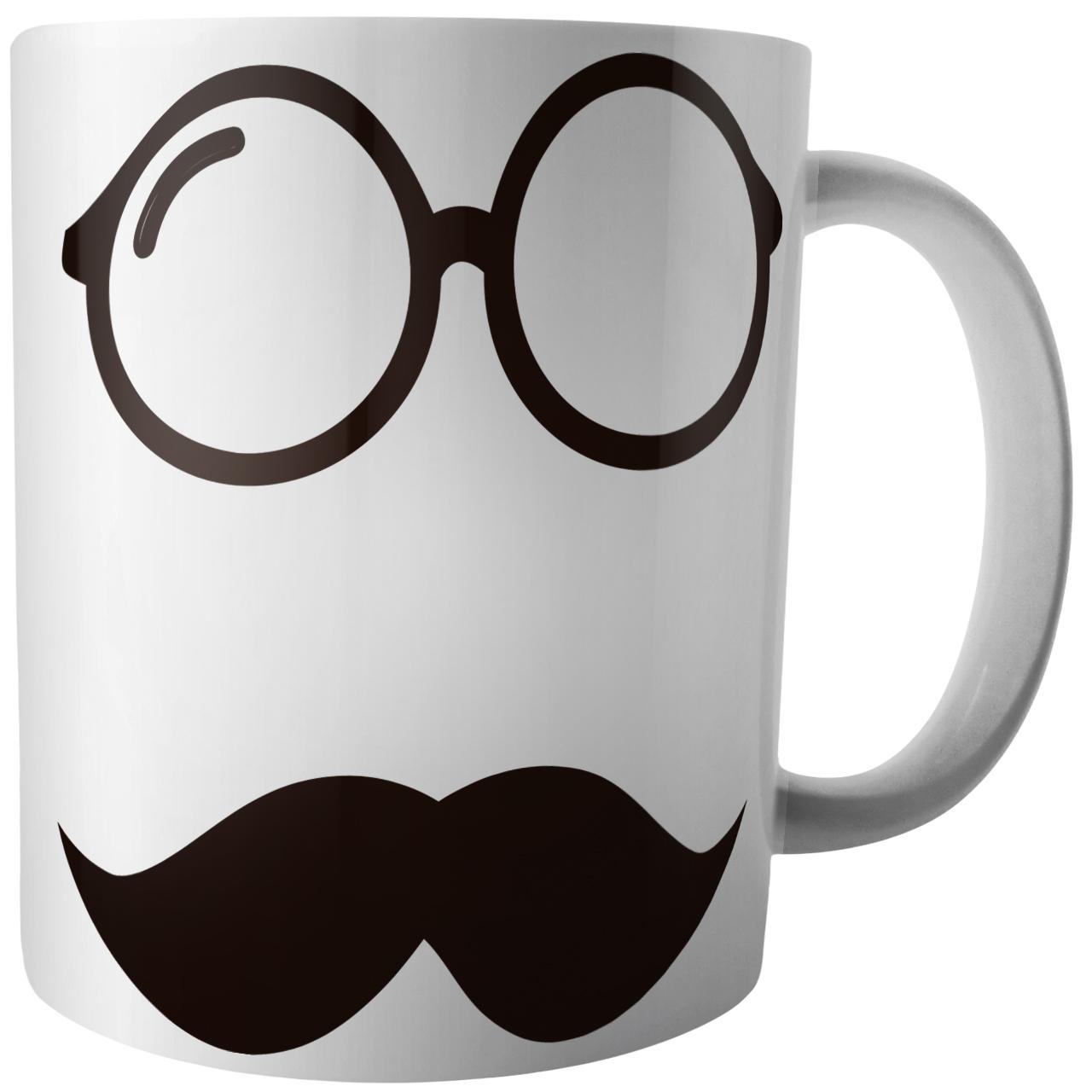 عکس ماگ آکو طرح عینک و سیبیل کد B303