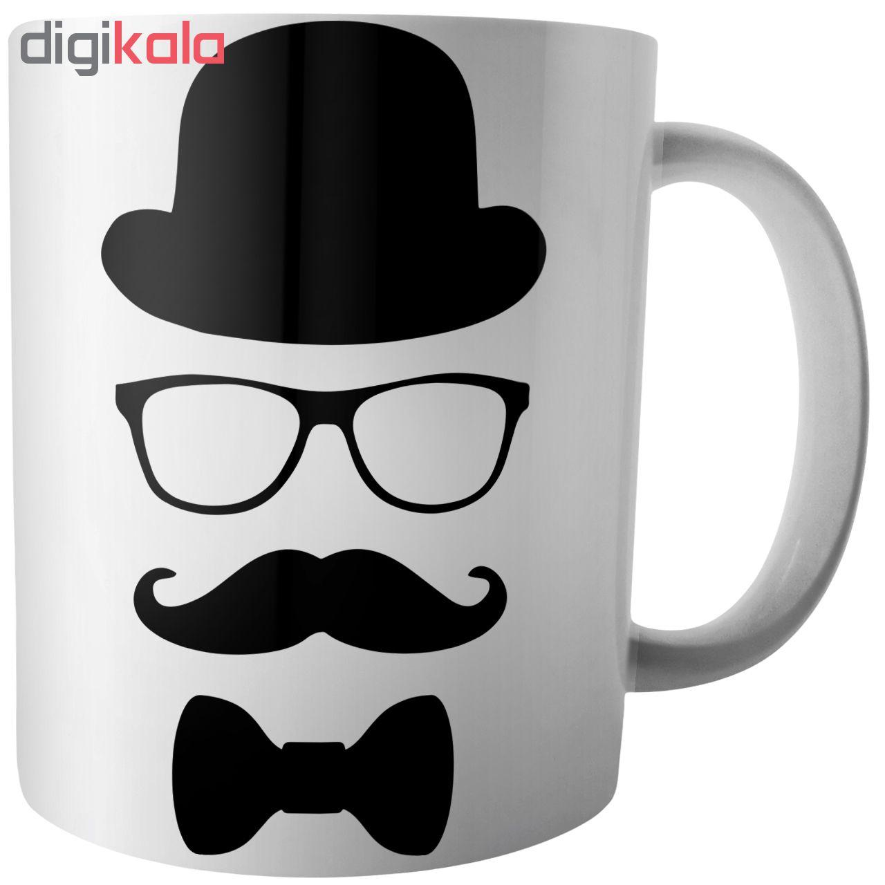 ماگ آکو طرح عینک و سیبیل کد B304