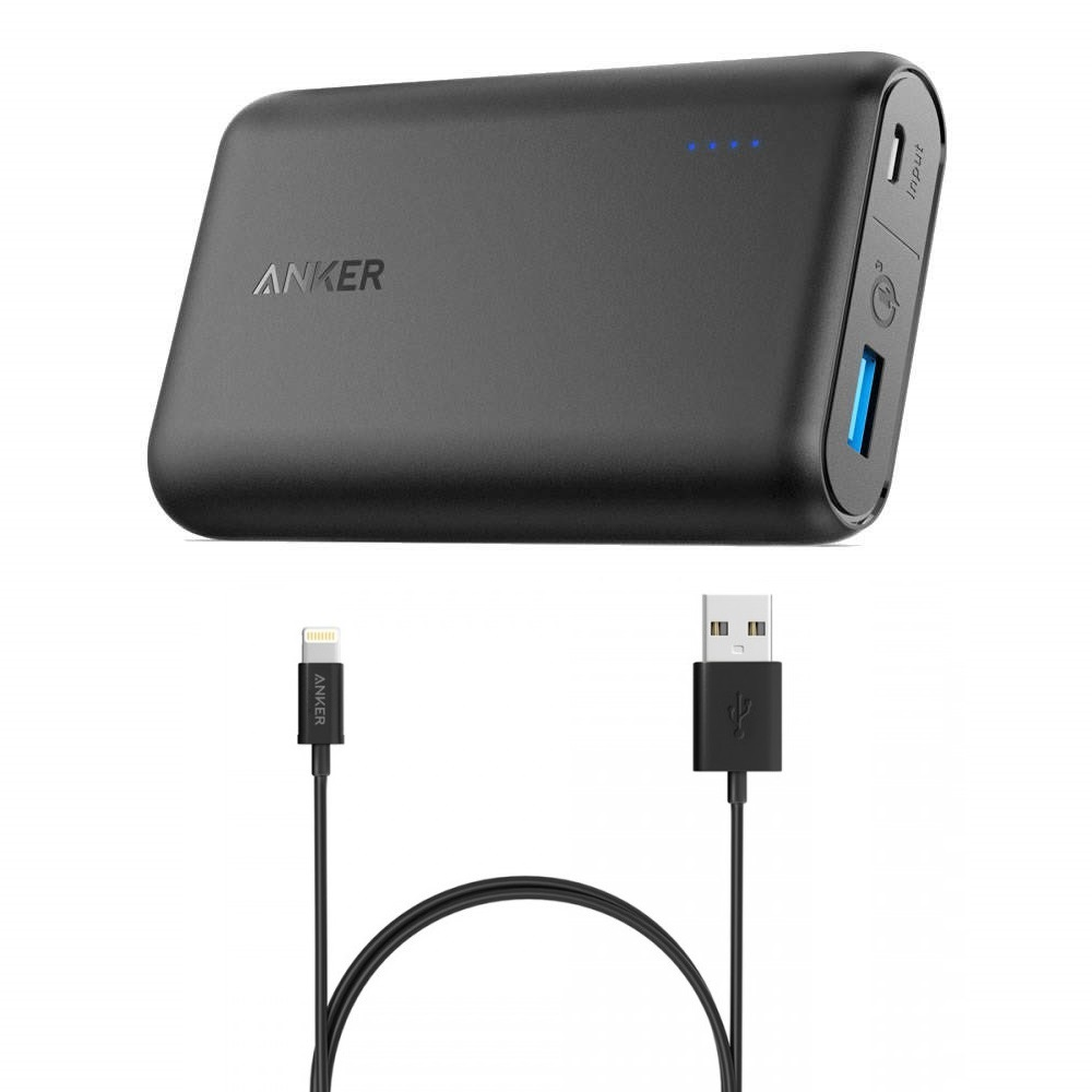 شارژر همراه انکر مدل A1266 PowerCore QC 3.0 ظرفیت 10000 میلی آمپر ساعت به همراه کابل لایتنینگ