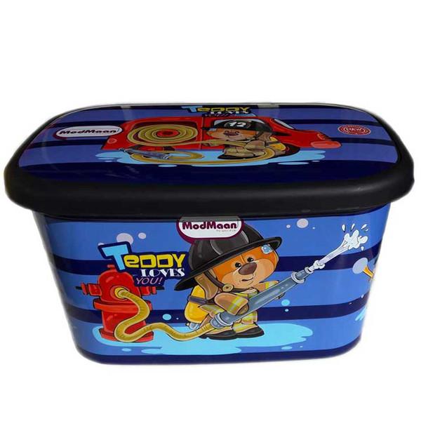 جعبه اسباب بازی کودک مدمان طرح خرس آتش نشان کد1 به همراه یک عدد ناخنگیر عروسکی
