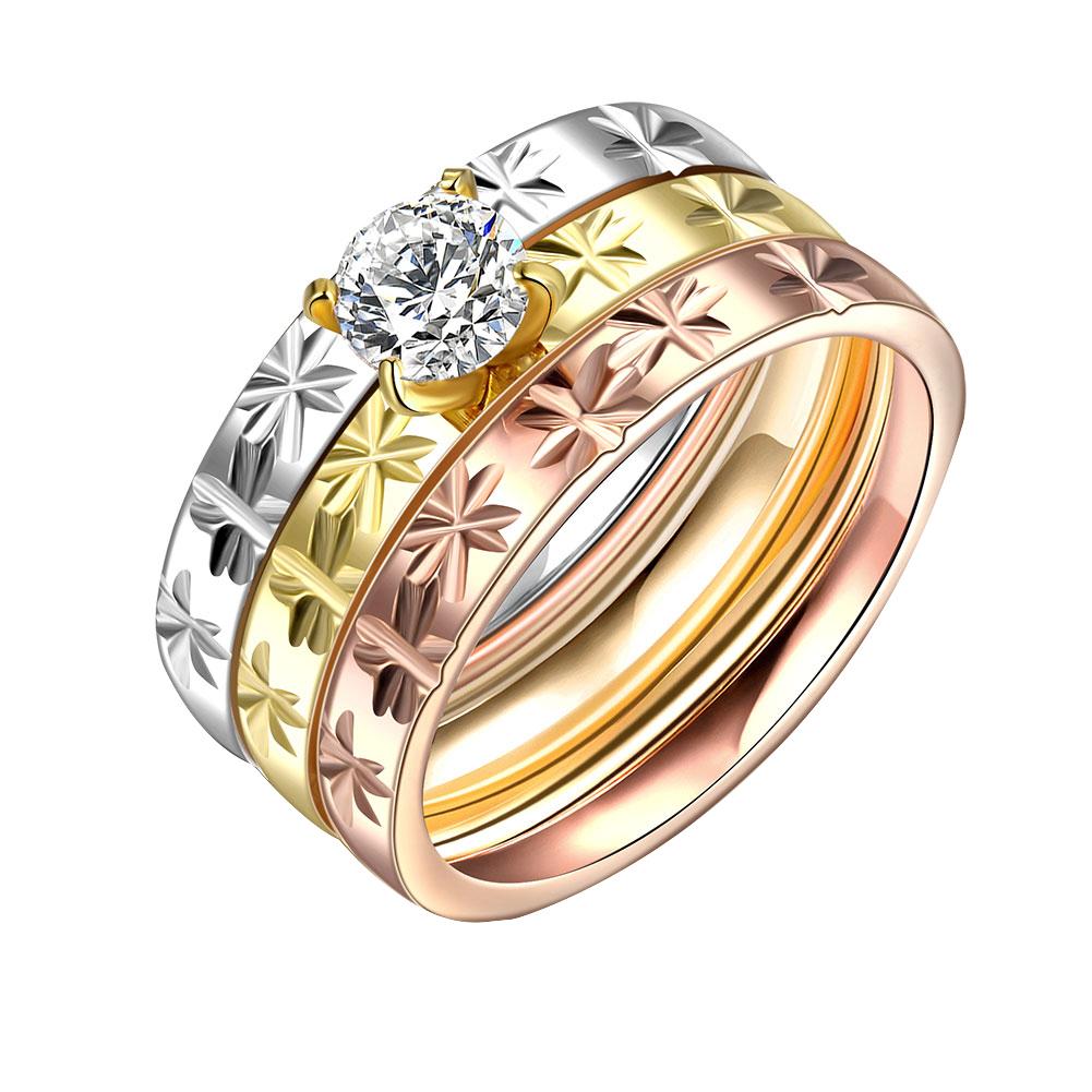 ست حلقه و پشت حلقه زنانه کد R033 مجموعه سه عددی