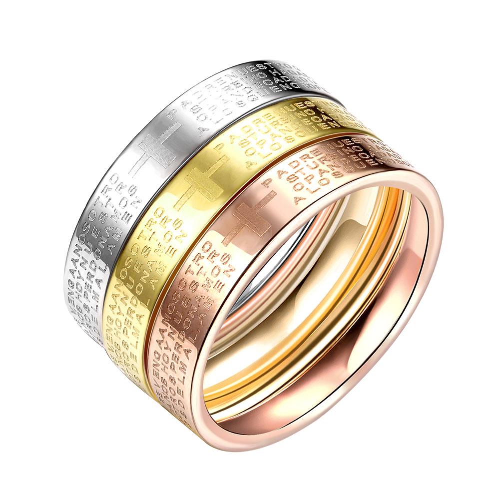 ست حلقه و پشت حلقه زنانه طرح صلیب کد R036 مجموعه سه عددی