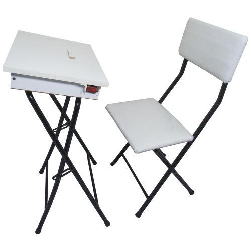 میز نماز باکسدار و صندلی سفید (ضدخش،تاشو،تنظیم شونده ارتفاع)