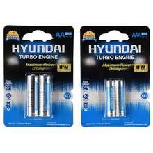باتری قلمی و نیم قلمی هیوندای مدل Power Alkaline بسته 4 عددی