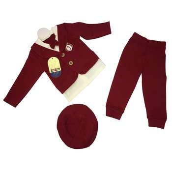 ست 3 تکه لباس نوزادی پسرانه گلیران طرح دانشجو مدل 4003 |