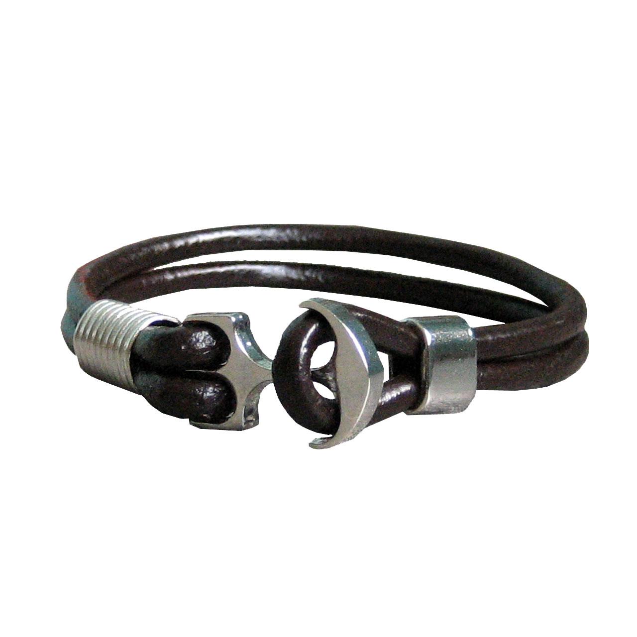 دستبند چرم  طبیعی دانوب طرح لنگر کد 002 سایز L