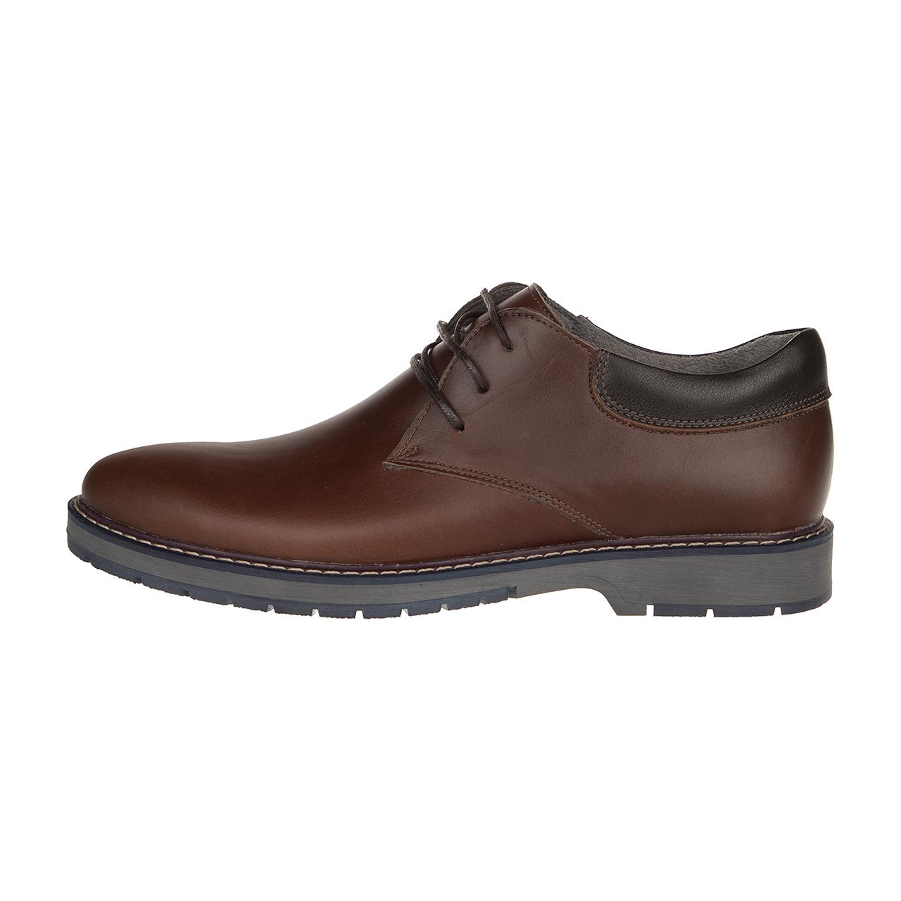 کفش مردانه چرم طبیعی مدل بندی قهوه ای کد39