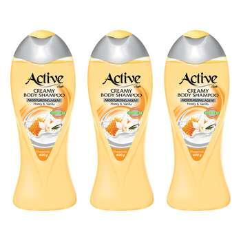 شامپو بدن اکتیو مدل Vanilla And Honey وزن 400 گرم بسته 3 عددی