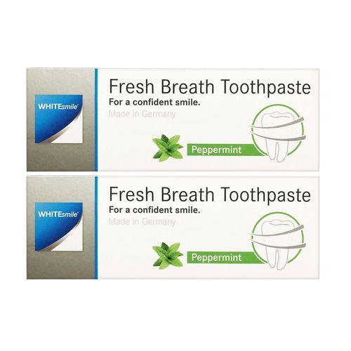 خمیر دندان وایت اسمایل مدل از بین برنده باکتری ها و بوی بد دهان Fresh Breath حجم 75 میلی گرم مجموعه دو عددی