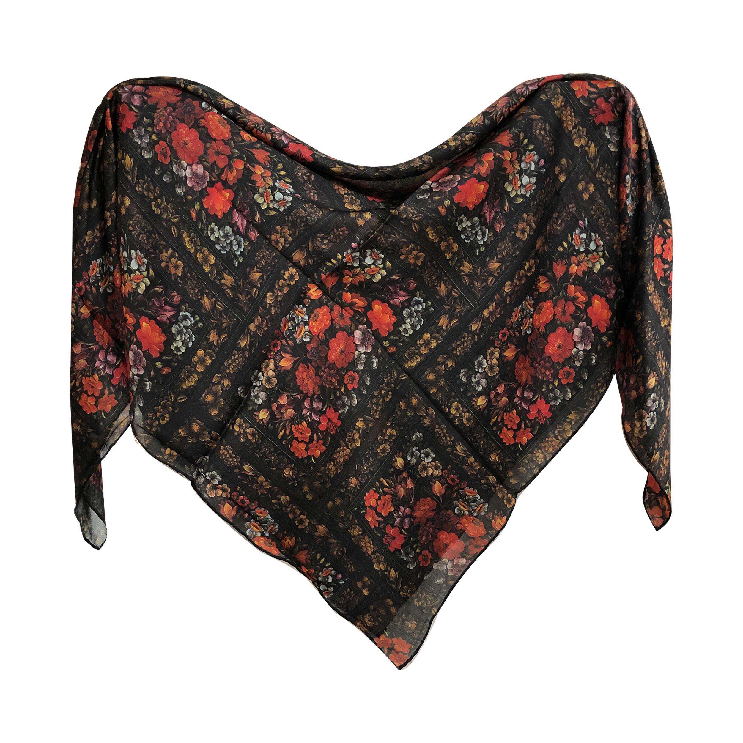 روسری زنانه ابریشم مامی دست دوز مدل 02