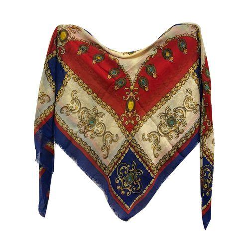 روسری زنانه نخی ریشه دار  قواره 140 کد 306