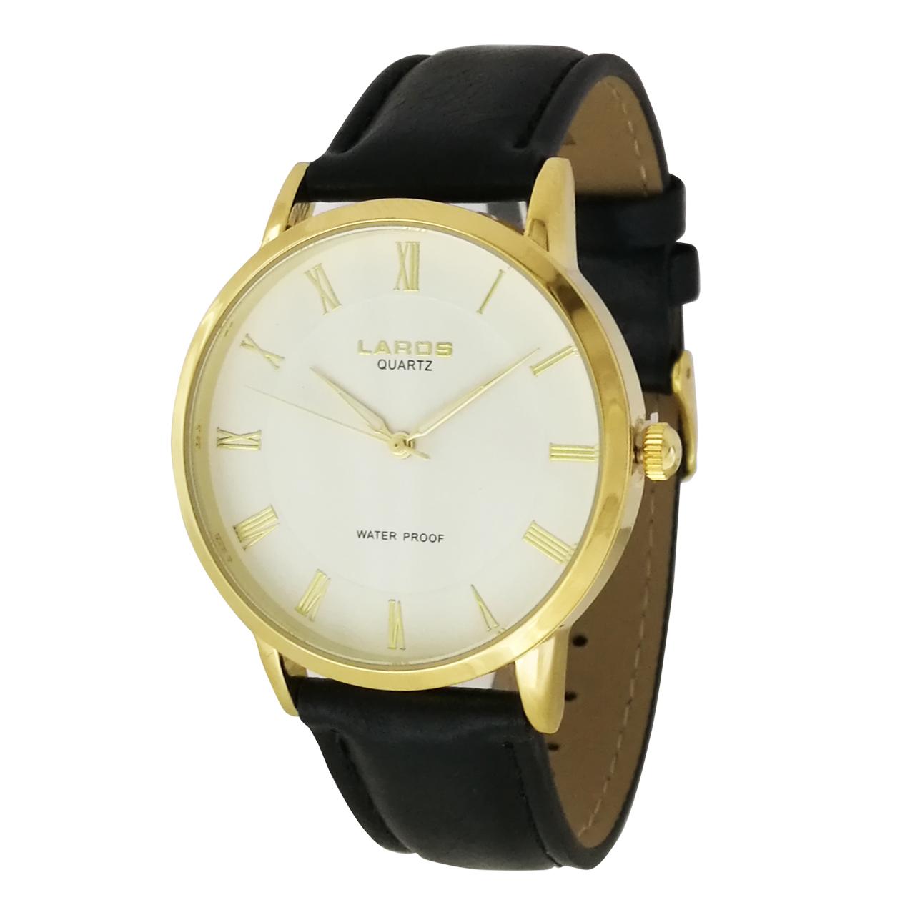 ساعت مچی عقربه ای مردانه لاروس مدل  0118-80207-s به همراه دستمال مخصوص برند کلین واچ 29