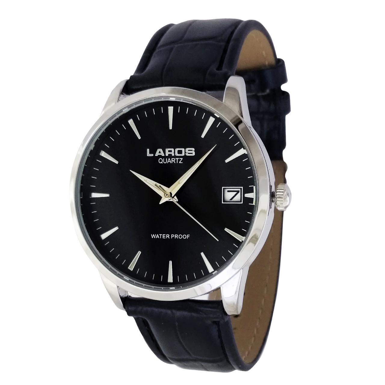 ساعت مچی عقربه ای مردانه لاروس مدل  1117-80139-s-d به همراه دستمال مخصوص برند کلین واچ